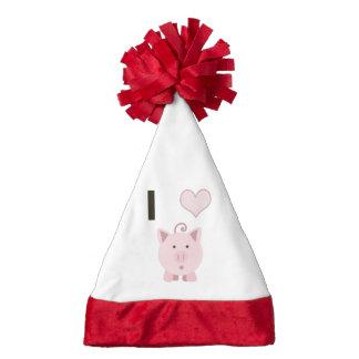 Cute I heart pigs Desgin Santa Hat