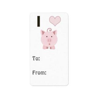 Cute I heart pigs Desgin Address Label