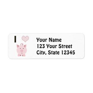 Cute I heart pigs Desgin Return Address Label