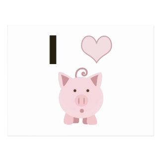 Cute I heart pigs Desgin Postcard