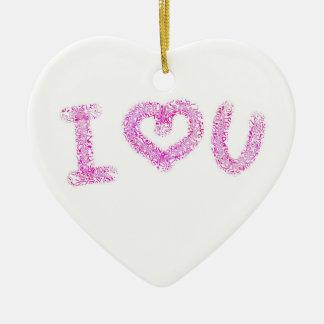Cute I Heart You  Valentine Heart Ornament