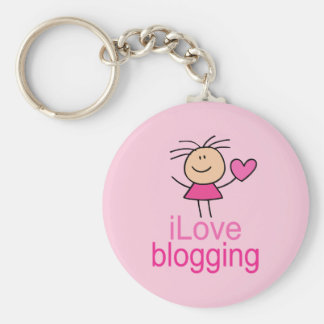 Cute I Love Blogging T-shirt Gift Key Ring