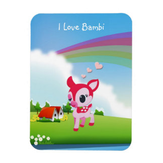 Cute I Love Deer Bambi with Rainbow Country Scene Rectangular Photo Magnet