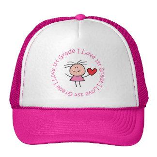 Cute I Love First Grade Trucker Hat