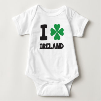 Cute I love Ireland Shamrock Lucky Leaf Print Baby Bodysuit