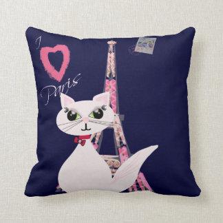 Cute I Love Paris cat Cushion