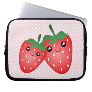 Cute I Love You Berry Much Kawaii Strawberry Fruit Laptop Sleeve