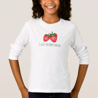 Cute I Love You Berry Much Kawaii Strawberry Fruit T-Shirt