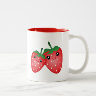 Cute I Love You Berry Much Kawaii Strawberry Fruit Two-Tone Coffee Mug