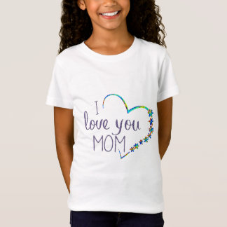 cute i love you mom mother's day kids shirt design