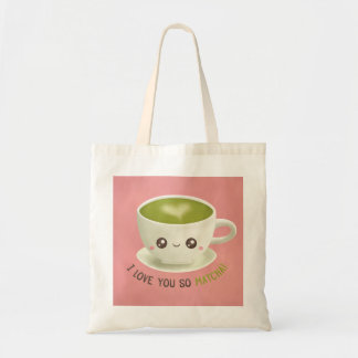 Cute I Love You So Matcha Puns Girls Tote Bag