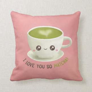 Cute I Love You So Matcha Puns Throw Pillow