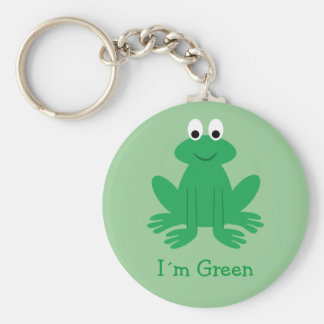 "Cute ""I´m Green"" Cartoon Frog Basic Round Button Key Ring"