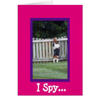 "Cute ""I Spy"" Birthday Card with Basset Hound"