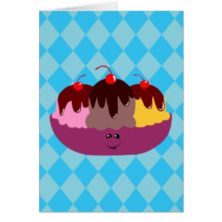 Cute Ice Cream Bowl Card