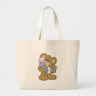 Cute Ice Cream Cone Bear Jumbo Tote Bag