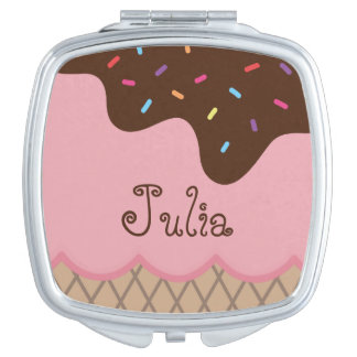 Cute Ice Cream + Custom Name Mirror For Makeup