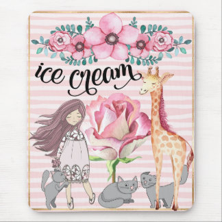 Cute Ice Cream Floral Cats Giraffe Mouse Pad