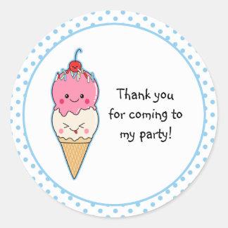 Cute Ice Cream Thank You Round Sticker