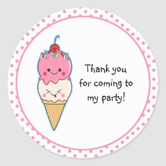 Cute Ice Cream Thank You Stickers