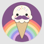 Cute Ice Cream with Moustache Stickers