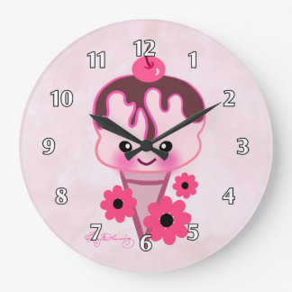 Cute Ice Cream with Pink Daisies Wall Clock
