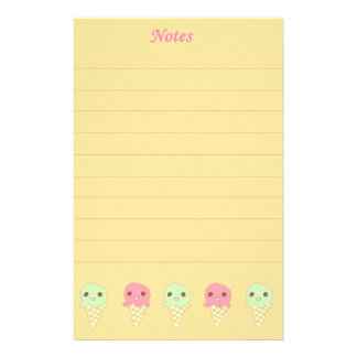 Cute Ice Creams Orange Stationery