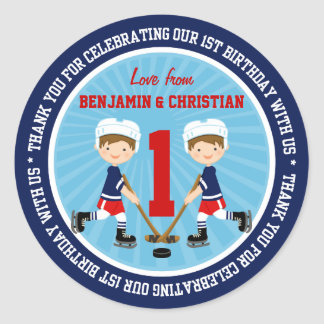Cute Ice Hockey Twins 1st Birthday Thank You Classic Round Sticker