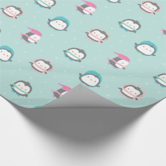Cute Ice Skating Penguins Christmas Pattern Wrapping Paper