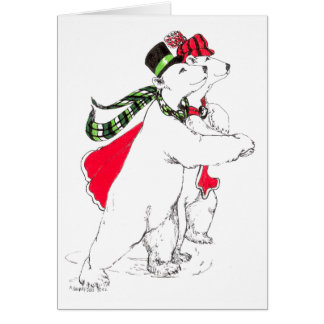 Cute Ice Skating Polar Bears Whimsical Christmas Card
