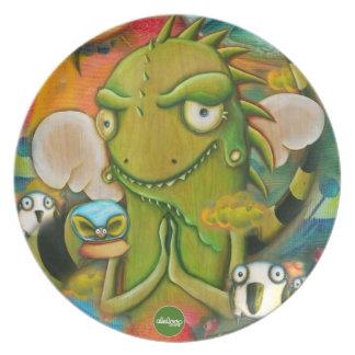 Cute Iguana & Penguin Cartoon Character Plate