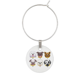 Cute illustrated Emoji dogs Wine Charm