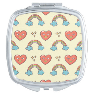 Cute Illustrated Pattern Compact Mirror