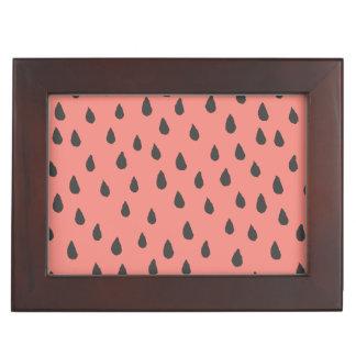 Cute Illustrated Summer Watermelon Seeds Pattern Keepsake Box