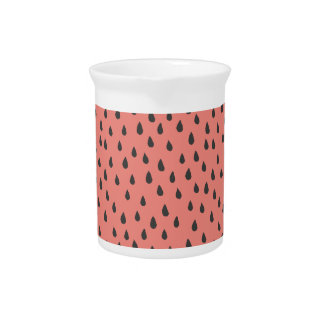 Cute Illustrated Summer Watermelon Seeds Pattern Pitcher