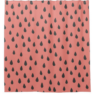 Cute Illustrated Summer Watermelon Seeds Pattern Shower Curtain