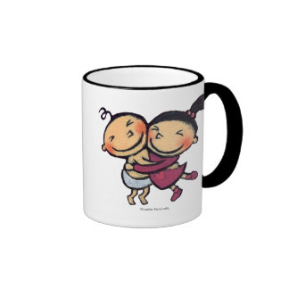Cute Illustrated Toddlers Hugging Ringer Coffee Mug