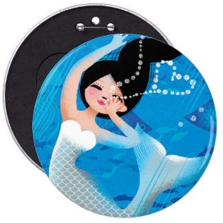 Cute illustration of a mermaid's bubble kiss 6 cm round badge