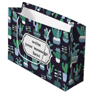 Cute illustration of cactus pattern large gift bag