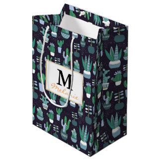 Cute illustration of cactus pattern medium gift bag