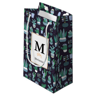Cute illustration of cactus pattern small gift bag