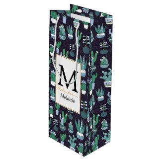 Cute illustration of cactus pattern wine gift bag