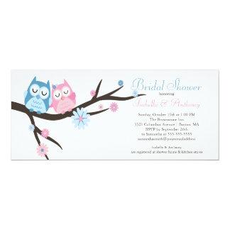 Cute in love Owl Couple Bridal Shower 10 Cm X 24 Cm Invitation Card