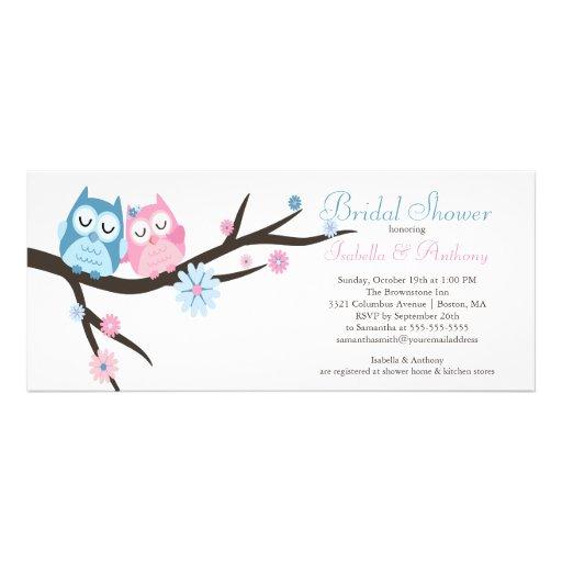 Cute in love Owl Couple Bridal Shower Invites