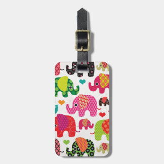 Cute india elephant festival pattern travel tag