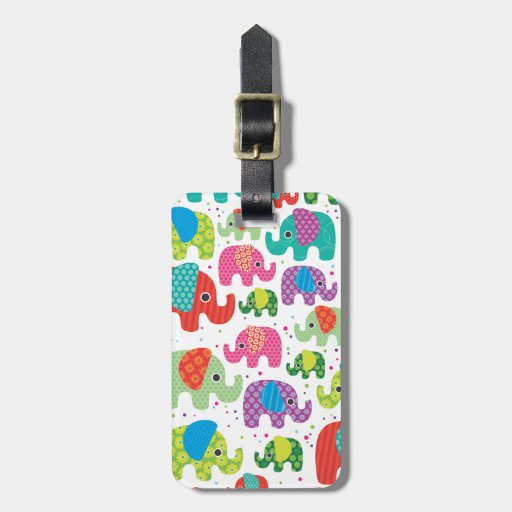 Cute india elephant kids pattern travel tag tags for luggage