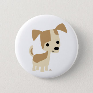 Cute Inquisitive Little Cartoon Dog 6 Cm Round Badge
