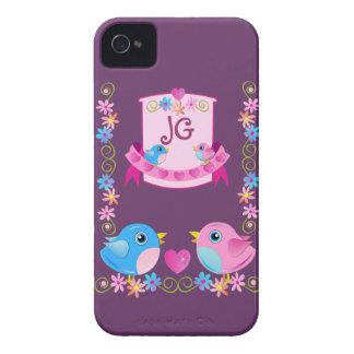 Cute iPhone 4 case Twitter birds & Monogram