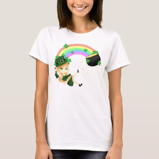 Cute Irish chibi leprechaun girl with pot of gold T-Shirt