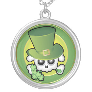 Cute Irish Skull Silver Plated Necklace